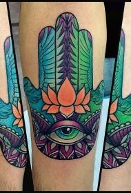 手臂彩色宗教手掌与鸟纹身图案