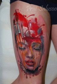 大腿插画风格彩色女生肖像纹身图案