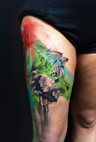 腿部水彩画风格的狼头纹身图案