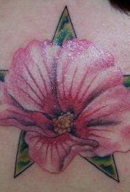 肩部逼真的彩色兰花和五角星纹身