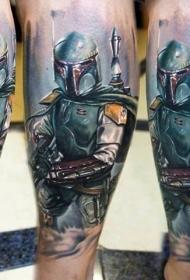 新风格的彩色腿部星球大战士兵纹身
