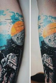 腿部现代风格的彩色空间主题纹身
