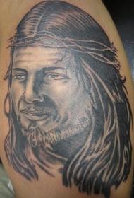 腿部灰色耶稣肖像纹身图案