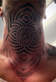 男性脖子黑色催眠图腾纹身图案
