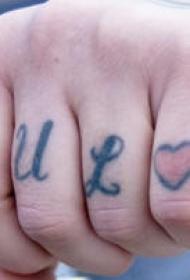 手指彩色英文字母爱心纹身图案