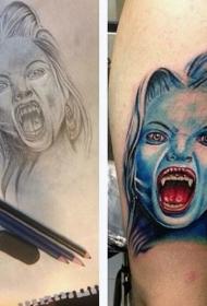 手臂可怕的彩色现实吸血鬼纹身图案