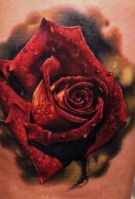 腿部现实主义风格的彩色玫瑰纹身图案