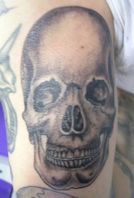 手臂黑灰色现实的人类头骨纹身图案