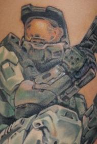 男性肩部彩色光环战士纹身图片