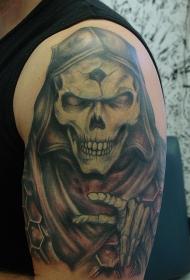 插画风格令人毛骨悚然的骷髅纹身图案