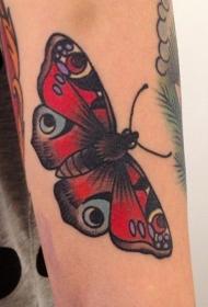 女性手臂彩色画蛾纹身图案