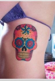 腰侧彩色墨西哥骷髅纹身图案