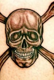 肩部棕色现实的骷髅纹身图案