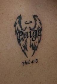 肩部黑色翅膀英文纹身图案