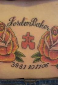 腰部彩色玫瑰花纪念纹身图案