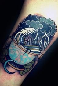 腿部老派风格的彩色波浪杯纹身图案