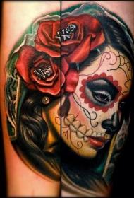 手臂彩色死亡女神纹身图案