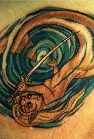 背部彩色美人鱼和漩涡纹身图片