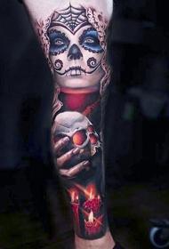 腿部墨西哥传统彩色恐怖女巫纹身