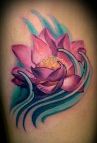 肩部彩色粉红色莲花纹身图片