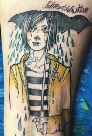 腿部彩色插画风格打伞的女人纹身