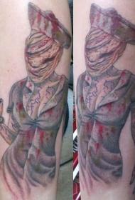 腿部彩色寂静岭护士恐怖电影纹身图案