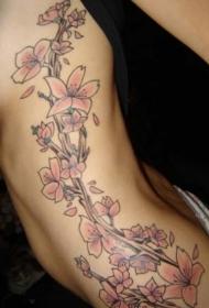 女性腰侧彩色桃花藤蔓纹身图案