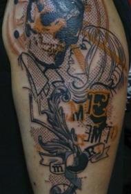 点画风格色的令人毛骨悚然的夫妇纹身图案