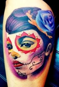 手臂彩色死亡女郎肖像纹身图案