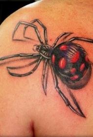 肩部彩色3D蜘蛛纹身图案