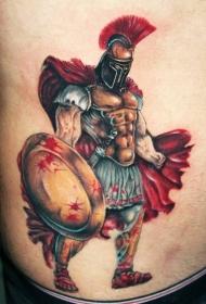 腹部彩色戴斗篷的角斗士纹身图案