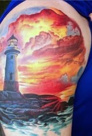 肩部彩色精彩斑斓的灯塔与日落纹身图案