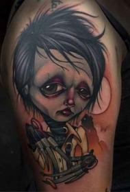 全新风格的爱德华彩色肩部纹身图案