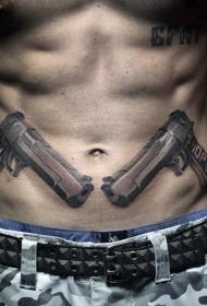 腹部棕色手枪纹身图案