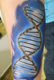 手臂彩色DNA形状循环链纹身图案