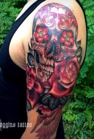 手臂彩色sugar骷髅纹身图案