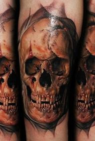 手臂写实风格彩色血腥古老骷髅头纹身图案