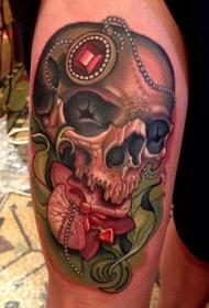 腿部彩色人头骨与珠宝纹身图案