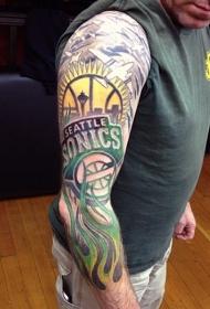 花臂篮球主题彩色徽章纹身图案