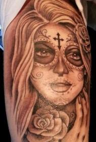 手臂灰色墨水死亡女神玫瑰纹身图案