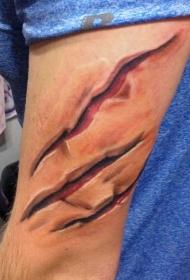 手臂3D逼真的彩色撕皮纹身图案
