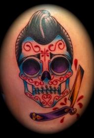 彩色sugar骷髅剃须刀纹身图案