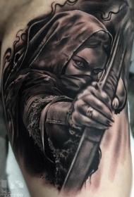 黑白色女人纹身