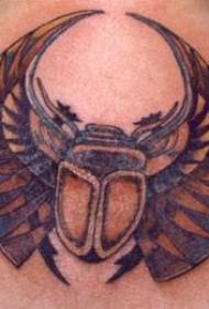背部甲虫彩色纹身图案