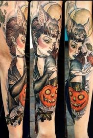 手臂彩绘和神秘女巫袖纹身图案