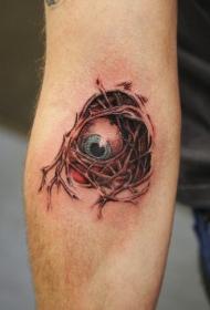 手臂彩色恐惧眼睛纹身图案