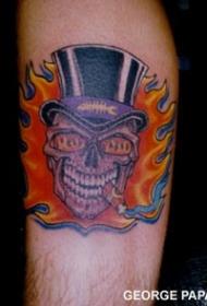 手臂彩色头纹身图案