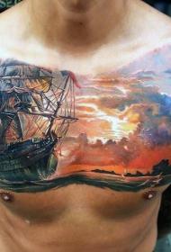 胸部彩色逼真大船在海上纹身图案