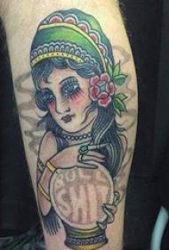 彩色立体几何线条纹身点刺技巧纹身图案