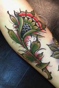 小腿上的新传统风格花图案纹身